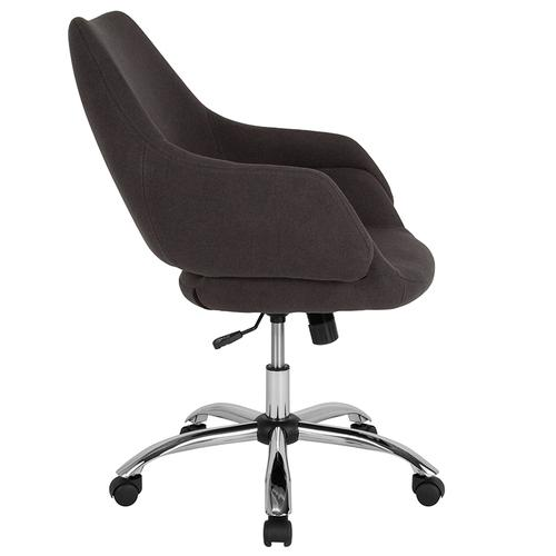 Gallery - Madrid Home and Office Upholstered Mid-Back Chair in Black Fabric