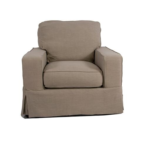 Americana Slipcovered Chair and Ottoman - 22091
