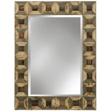 Homocentric  Hand Painted Natural Wood Assembled Framed Mirror with Clear Beveled Glass  Hanging H