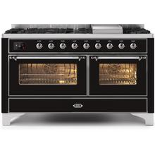 60 Inch Glossy Black Dual Fuel Natural Gas Freestanding Range