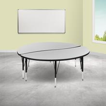 """See Details - 2 Piece 60"""" Circle Wave Flexible Grey Thermal Laminate Activity Table Set - Height Adjustable Short Legs"""