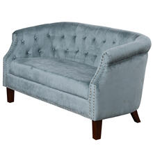 TUFTED BABY BLUE  30ht X 56w X 30d  Fabric Settee Sofa with Inside Tufted Side Arms and Back
