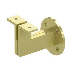 """Deltana - Modern Handrail Bracket, 3-1/4"""" Projection, Heavy Duty - Polished Brass"""