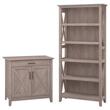 Key West Secretary Desk with 5 Shelf Bookcase - Washed Gray