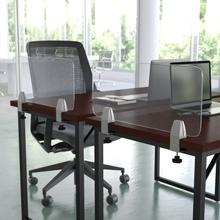 """Product Image - Clear Acrylic Desk Partition, 12""""H x 23""""L (Hardware Included)"""