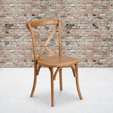 See Details - Stackable Oak Wood Cross Back Chair