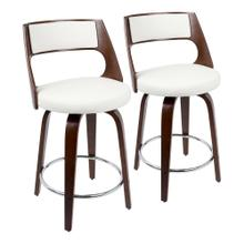 See Details - Cecina 24.5'' Counter Stool - Set Of 2 - Cherry Wood, White Pu, Chrome