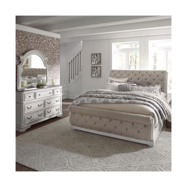 See Details - King California Upholstered Sleigh Bed, Dresser & Mirror