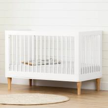 Baby Crib with Adjustable Height - Pure White