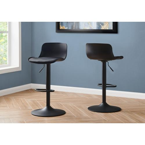 BARSTOOL - 2PCS / BLACK / BLACK METAL HYDRAULIC LIFT