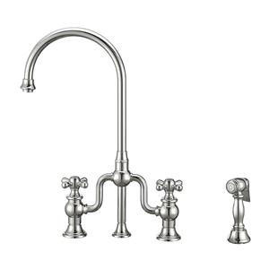 Twisthaus Plus bridge faucet with a long gooseneck swivel spout, cross handles, and a solid brass side spray Product Image