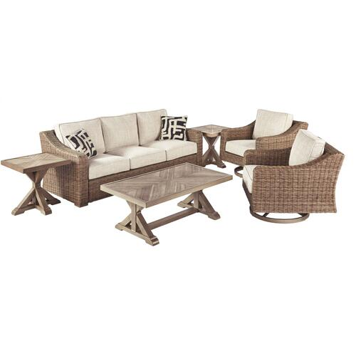 Ashley - Outdoor Sofa With 2 Lounge Chairs, Coffee Table and End Table