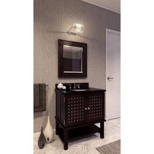 """31-1/2"""" vanity with a Espresso finish, frosted tempered glass inserts and open shelf with preassembled top and bowl."""