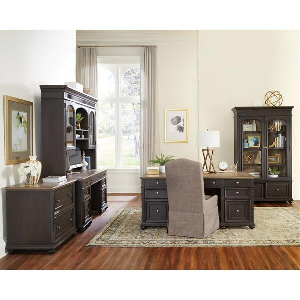 Regency - Credenza Desk - Antique Oak/matte Black Finish