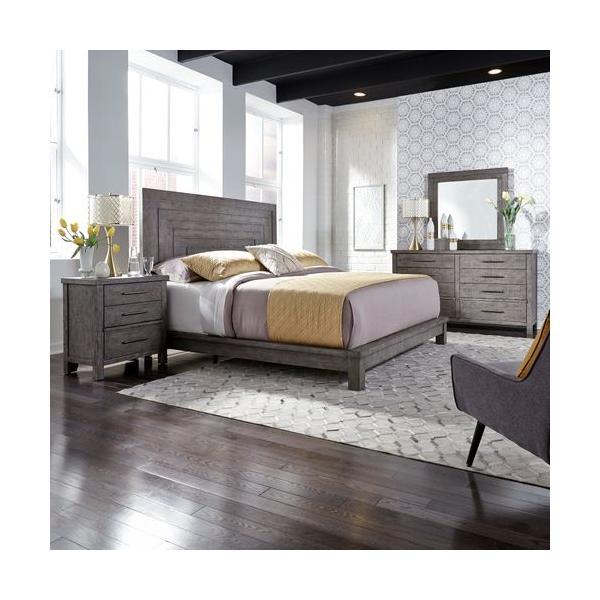 See Details - King Platform Bed, Dresser & Mirror, Night Stand