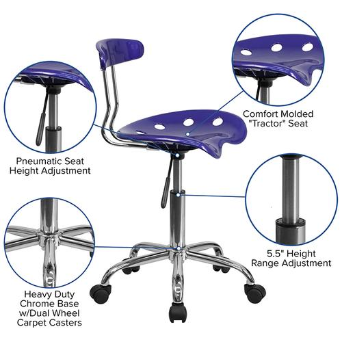 Flash Furniture - Vibrant Deep Blue and Chrome Swivel Task Office Chair with Tractor Seat