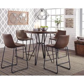 Centiar Dining Room Table & 4 Bar Stools Two-tone Brown