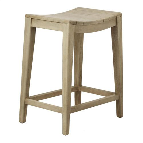 Elmo Wooden Counter Stool, Washed Gray
