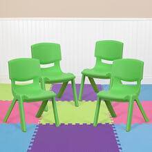 4 Pack Green Plastic Stackable School Chair with 10.5'' Seat Height [4-YU-YCX-003-GREEN-GG]