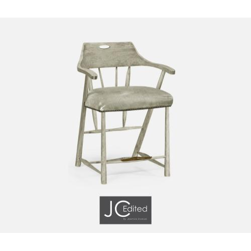 Smokers Style Rustic Grey Counter Stool with Grey Leather