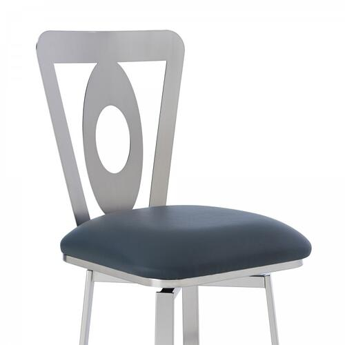 """Lola Contemporary 26"""" Counter Height Barstool in Brushed Stainless Steel Finish and Grey Faux Leather"""