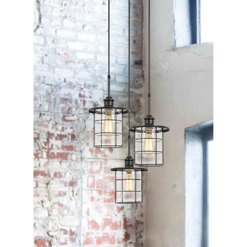 60W x 3 Silverton metal/glass pendant fixture (Edison bulbs included)