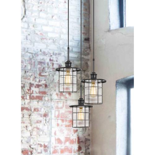 Cal Lighting & Accessories - 60W x 3 Silverton metal/glass pendant fixture (Edison bulbs included)