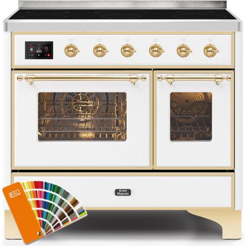 Ilve - Majestic II 40 Inch Electric Freestanding Range in Custom RAL Color with Brass Trim