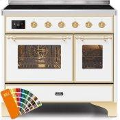 Majestic II 40 Inch Electric Freestanding Range in Custom RAL Color with Brass Trim