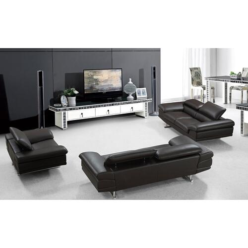 Divani Casa Hollis Modern Brown Leather Sofa Set