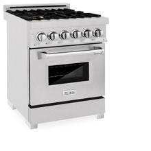 View Product - ZLINE 24 in. Professional Dual Fuel Range in DuraSnow® Stainless Steel with Color Door Options (RAS-SN-24) [Color: DuraSnow® With Brass Burners]