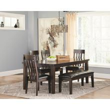 Haddigan 6PC Set: Dining Table w/ Leaf, 4 Chairs & Bench