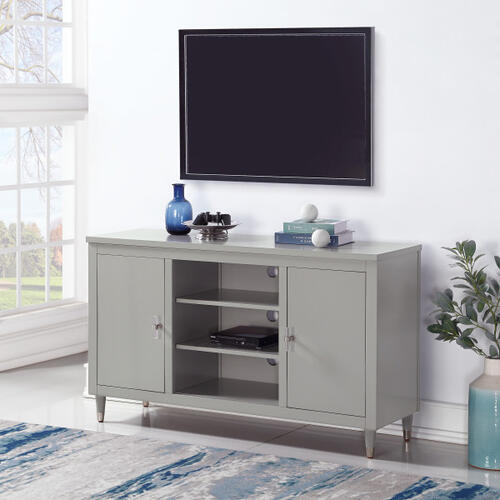 Smooth Modern 2 Door TV Console in Gray