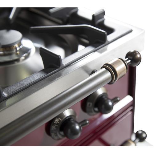 40 Inch Burgundy Dual Fuel Natural Gas Freestanding Range