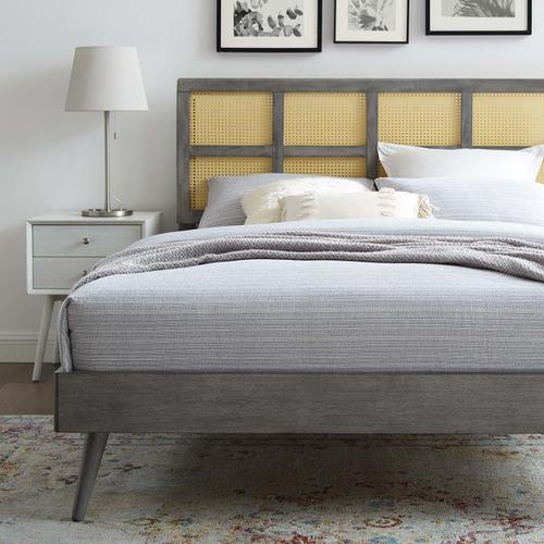 Sidney Cane and Wood Full Platform Bed With Splayed Legs in Gray