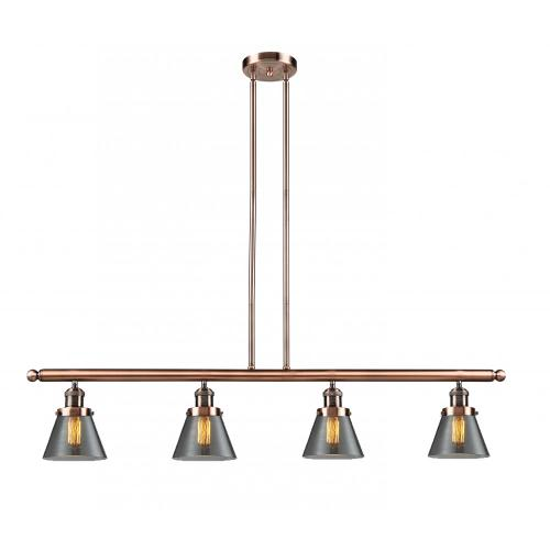 214-AC-G63 - SMALL GLASS CONE 4 LIGHT ISLAND CHANDELIER