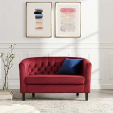 Prospect Performance Velvet Loveseat in Maroon