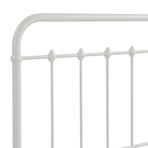 Curved Corner Metal Twin Bed in White