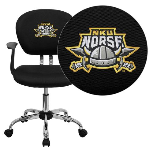 Northern Kentucky University Norses Embroidered Black Mesh Task Chair with Arms and Chrome Base