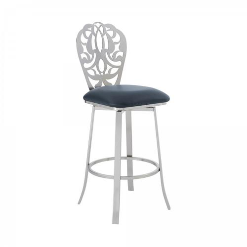 """Armen Living - Cherie Contemporary 26"""" Counter Height Barstool in Brushed Stainless Steel Finish and Grey Faux Leather"""