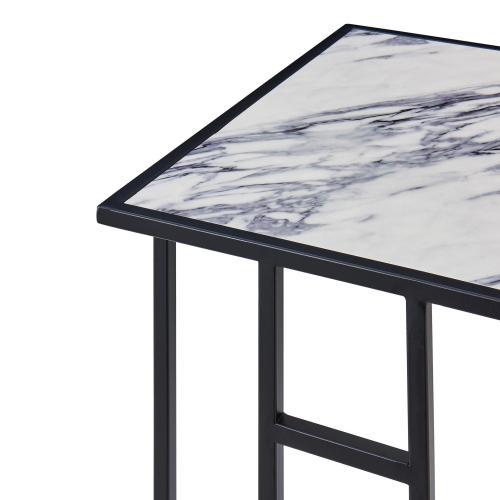 Nantes Faux Marble C-Shape End Table Set of 2, White Marble