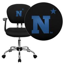 United States Naval Academy Goats Embroidered Black Mesh Task Chair with Arms and Chrome Base