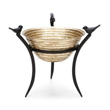 Freda Gold Metal Bowl on Stand with Bird Accent