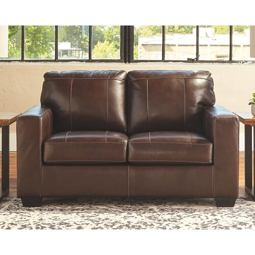 2pc Genuine Leather Sofa and Loveseat, Morelos by Ashley, Model 3450238, 3450235
