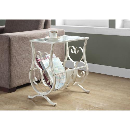 Gallery - ACCENT TABLE - ANTIQUE WHITE METAL WITH TEMPERED GLASS