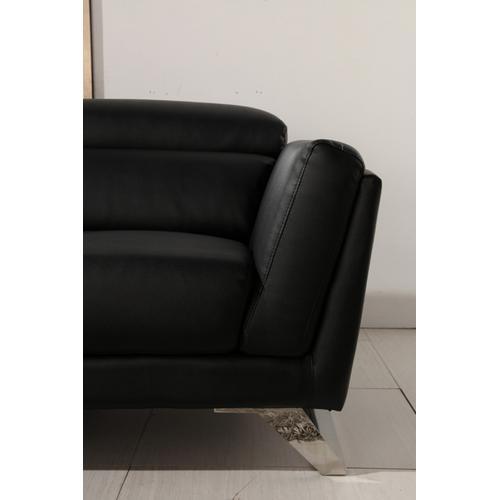 Divani Casa Doss Modern Black Eco-Leather Sectional Sofa