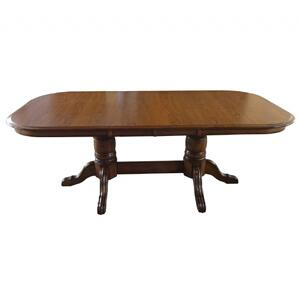 """Tennessee Enterprises - Laminated Double Pedestal Dining Table W/2-12"""" Leaves, Board Trestle W/ Empire Feet"""