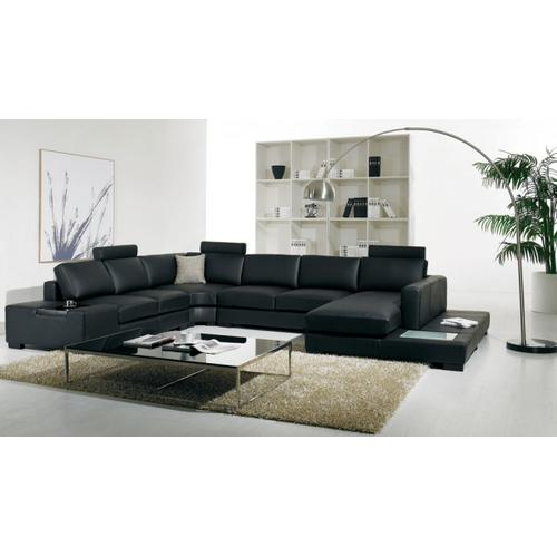 Divani Casa T35 - Modern Bonded Leather Sectional Sofa With Light