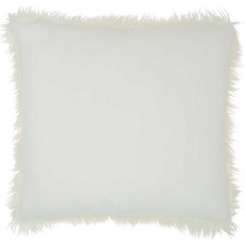 """Faux Fur Bj101 White 17"""" X 17"""" Throw Pillow"""
