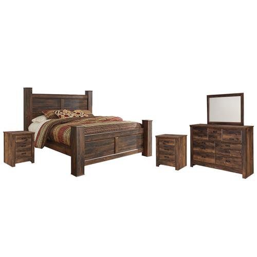 Ashley - King Poster Bed With Mirrored Dresser and 2 Nightstands